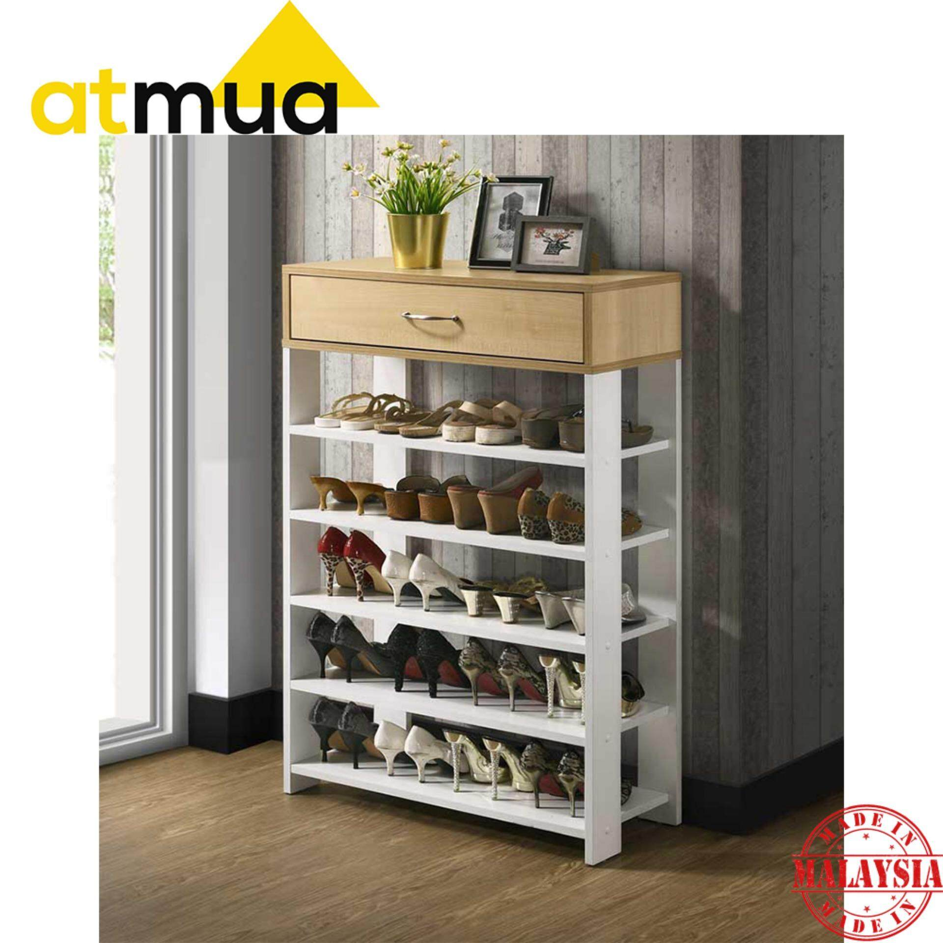 Atmua Hamton Indoor Shoe Rack 5 Rack with 1 Storage (Simple Design) [Full Melamine Board]