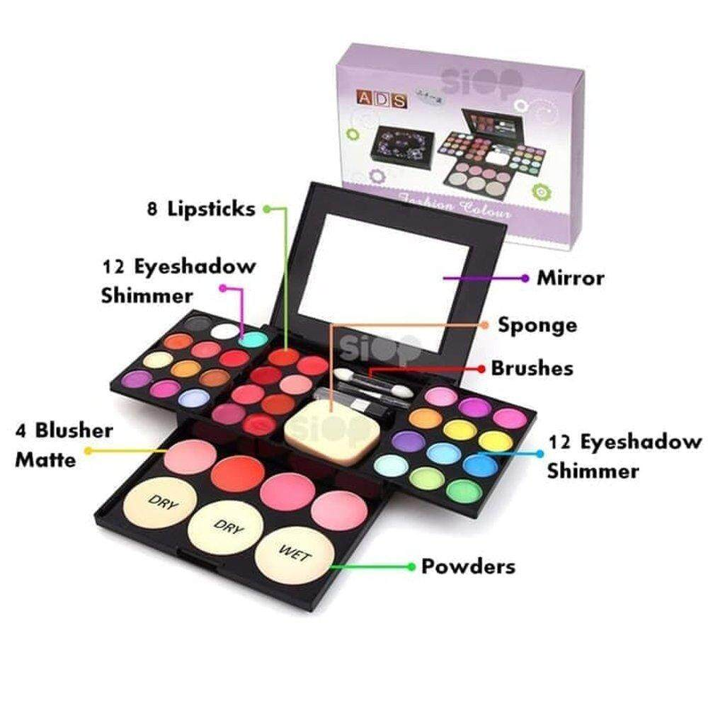 39 Colours ADS Luminous Palette Cosmetic Glitter Eye Shadow Colorful Smoky Eyeshadow Palette Lipstick Blusher Consealer Makeup Kit All in One Professional Set eyeshadow makeup set