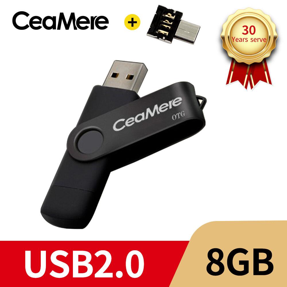 Ceamere  OTG USB Flash Drive  64GB 32GB 16GB 8GB Pen Drive Smartphone Pen Drive USB 2.0 Flash Drive for smart phone