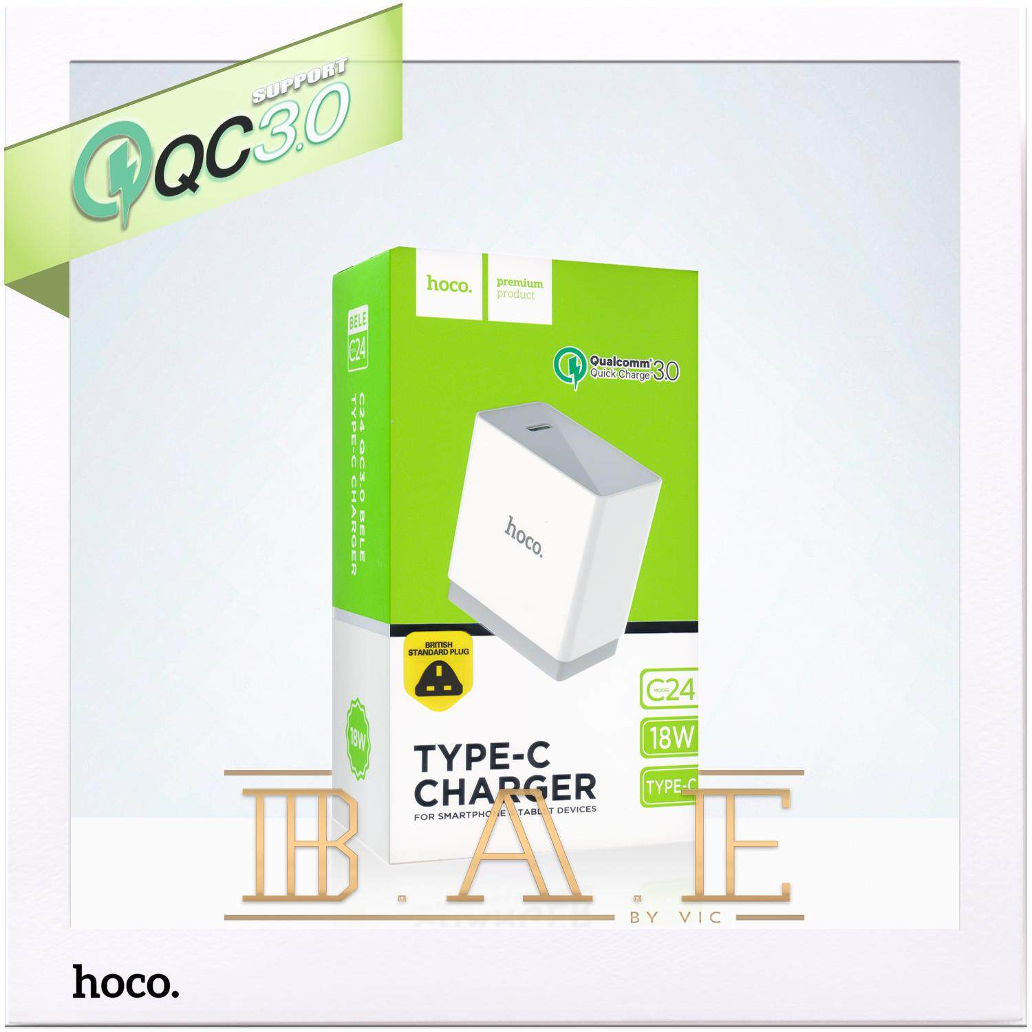 Hoco C24 Bele QC 3.0 18W Quick Charge USB Type-C Single Port Charger (UK)