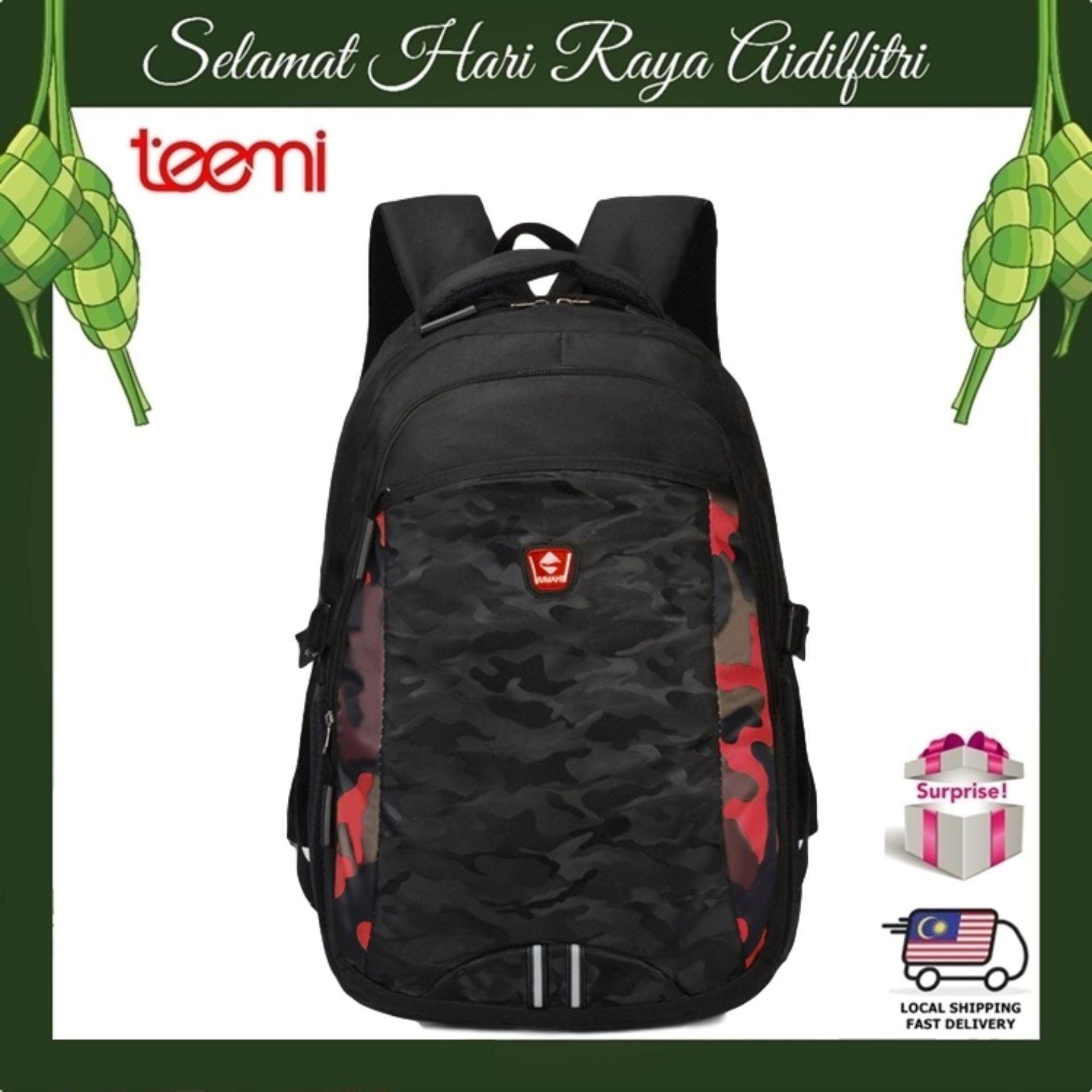 TEEMI Unisex Army Camouflage Forest Stripe Printing Nylon Laptop Backpack Casual Teen School College Travel Business Bag - Red