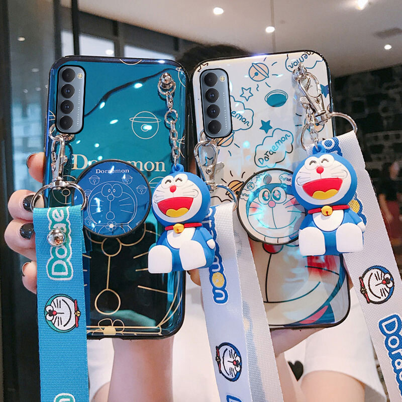 Hình ảnh Ốp Điện Thoại OPPO Reno 4 Pro Cho Nữ, Ốp Lưng TPU Mềm Hình Doraemon Có Giá Đỡ Và Dây Đeo Chéo Có Thể Điều Chỉnh, Phong Cách Hoạt Hình 3D Dễ Thương, Dùng Cho OPPO Reno4 Pro CPH2109