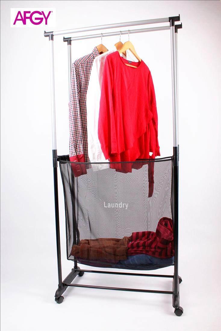 AFGY FGR 244 Double Pole Garment Rack Plus Laundry Hamper