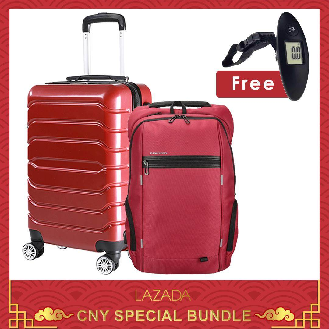 CNY Special Bundle : TRAVEL STAR 178 Elegant 20 Inch Hard Case Cabin Size Luggage Bagasi With External Charging Port + KINGSONS (Design B) KS3144W 15.6 inches Laptop Backpack + SOKANO Mini Travel Luggage Scale 001