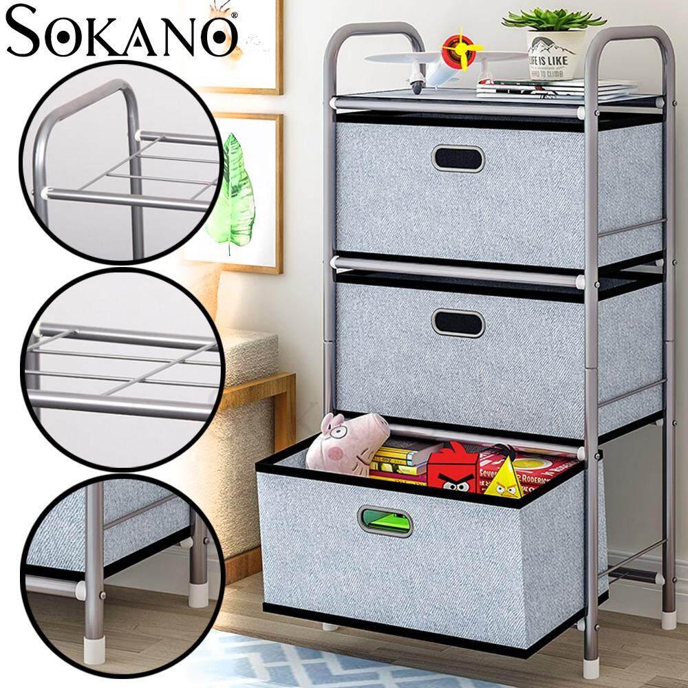 SOKANO 3301 4 Tiers Multipurpose Organizer Rack with Drawers - Laci Rak Bergerak