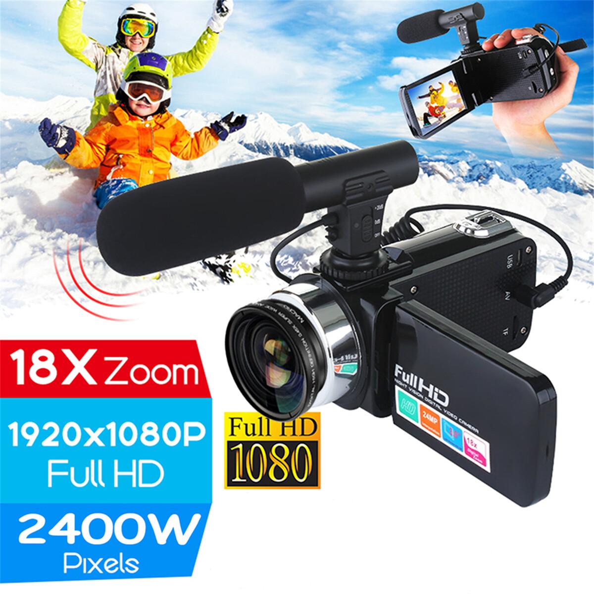2400 ล้านพิกเซลVlogกล้องถ่ายวิดีโอFull HD 1080Pกล้องวิดีโอ 16X Digital ZOOMรองรับไมโครโฟนและเลนส์ภายนอก