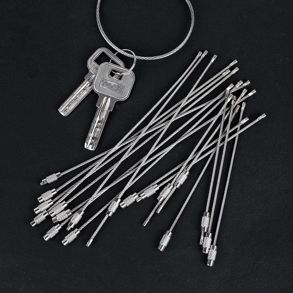 Wire Keychain Stainless Steel Chain Outdoor Luggage Tag Loop Rope