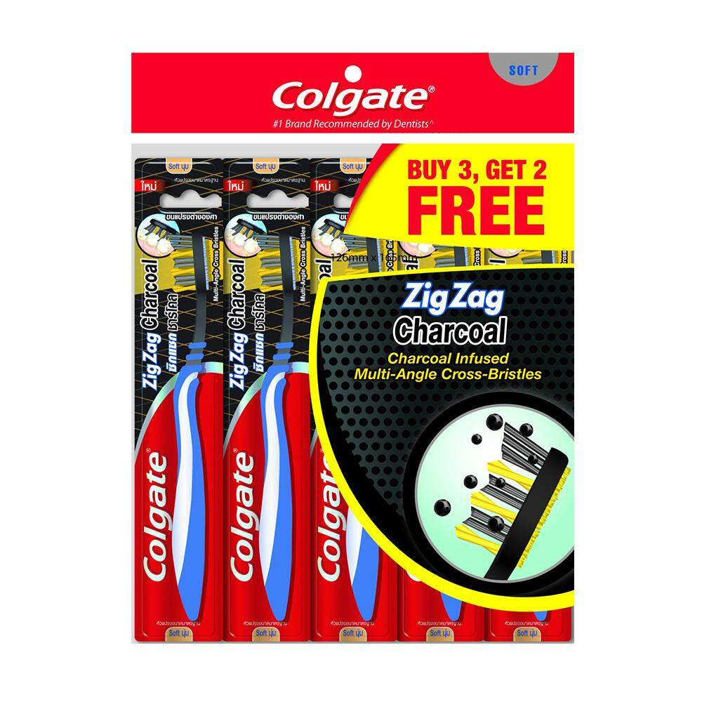 Colgate ZigZag Charcoal Toothbrush Value Pack Soft x 5 pcs