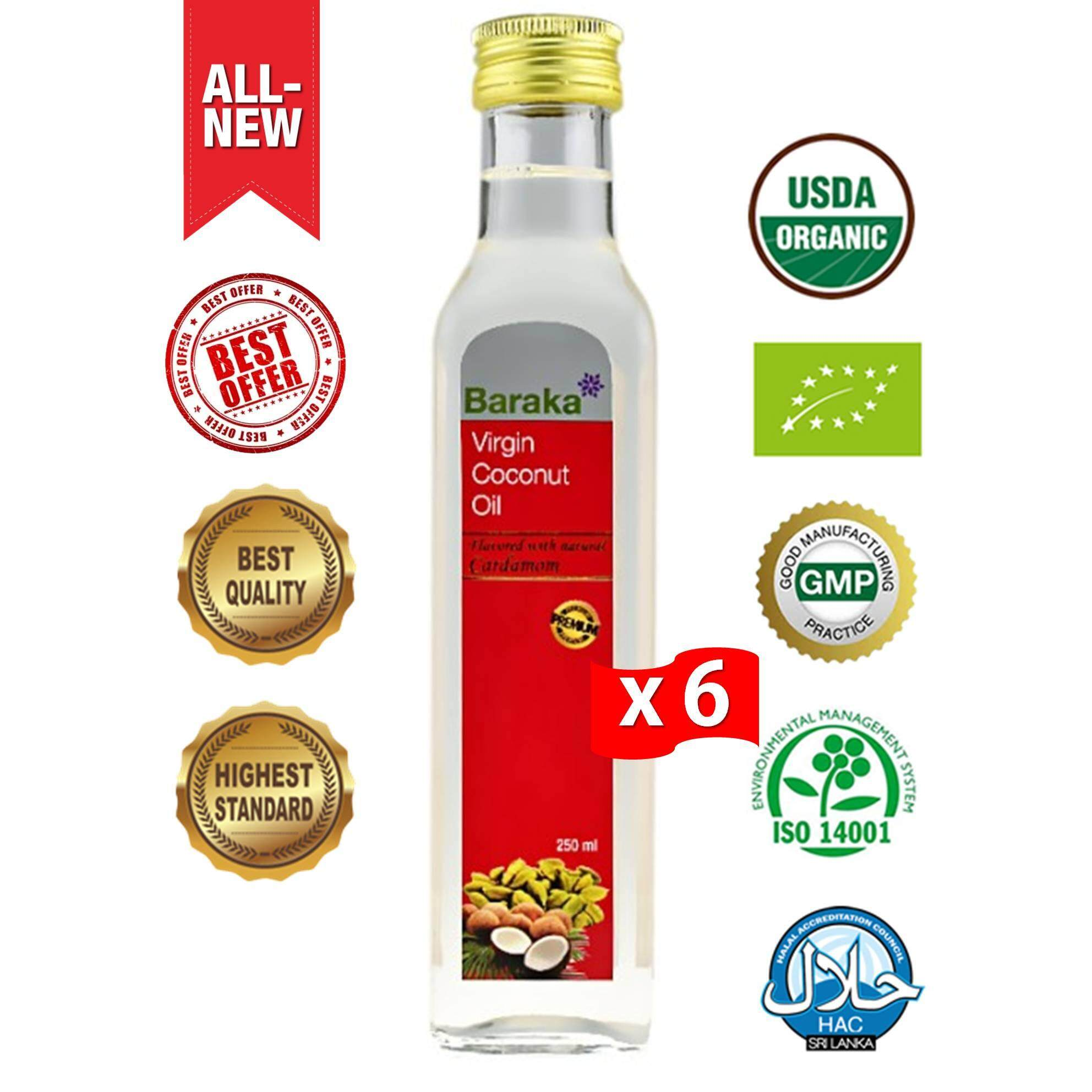 [BE$T Deal!] BARAKA Premium Virgin Coconut Oil, Flavored with Natural Cardamom, 250ml - 6 Bottles