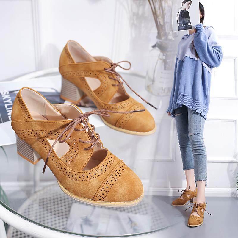 Mode untuk Wanita Chunky Besar Heels Pantofel Ukuran Plus 35 ~ 43 5.5 Cm Hak Tinggi