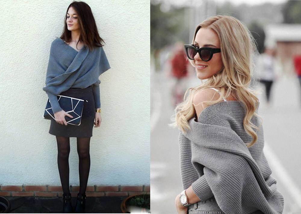 Hình ảnh Moderntime Womens Off Shoulder V Neck Rắn Dài Tay Chéo Bọc Quá Khổ Loose Dệt Kim Áo Len Jumper Cardigan Outwear Coat