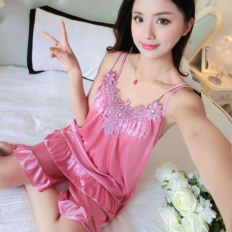 【SIMPLE & NICE】New Fashion Sleeveless Sexy Design Women Pyjamas Sets With Premium Quality Silk ( Neutral Red/Lavender Purple/Purple/Red - Size: Free Size)