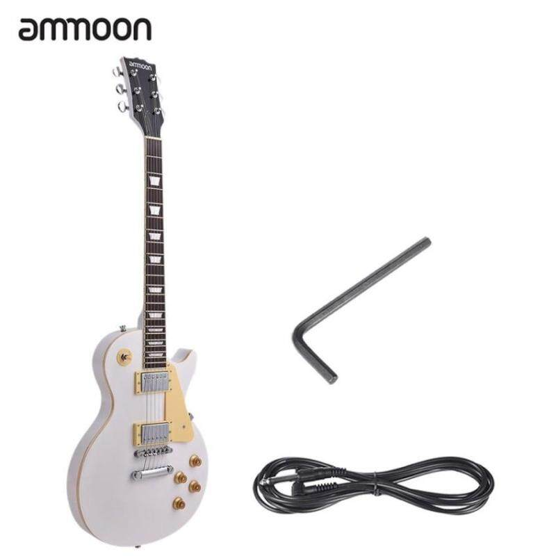 ammoon Electric Guitar 6 String Solid Wood Brims 23 Frets Basswood Body Dual-coil Pickup with Pickguard 6.35mm Cable  Malaysia