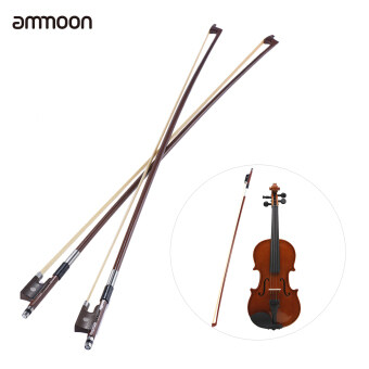 ammoon Full Size 4/4 Violin Fiddle Bow Well Balanced Round BrazilWood Stick Horsehair Exquisite, Pack of 2pcs