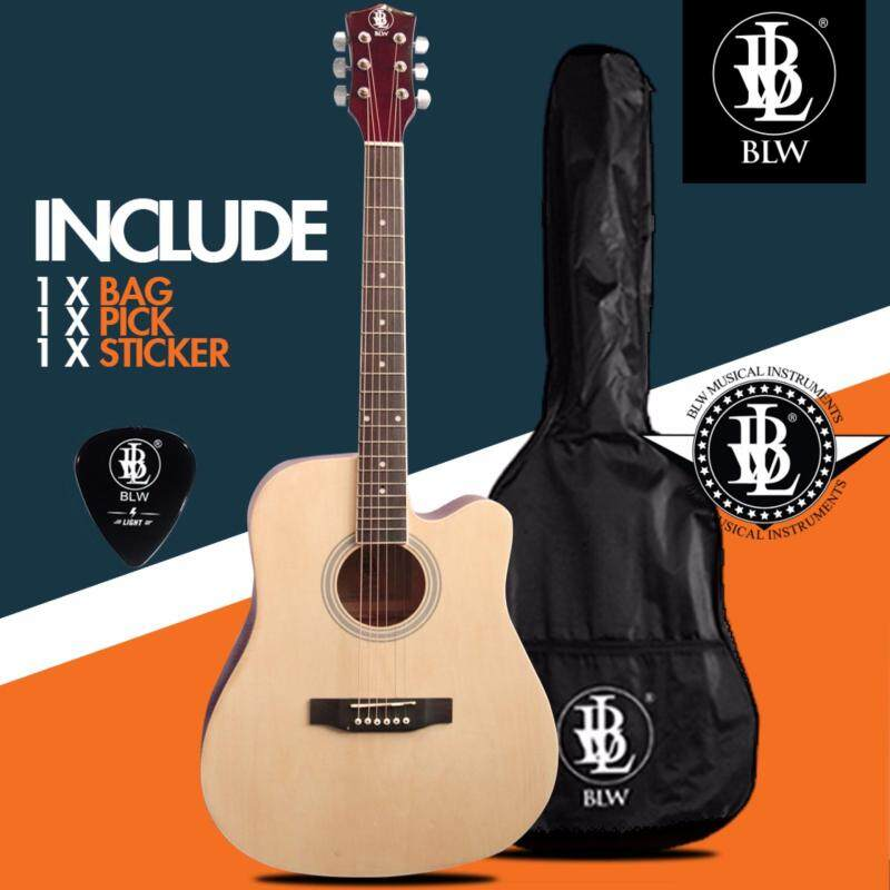 BLW 41 Inch Standard Dreadnaught Model Acoustic Guitar for Beginners SD410 Comes with Bag, Pick and Merchandise Sticker (Natural) Malaysia