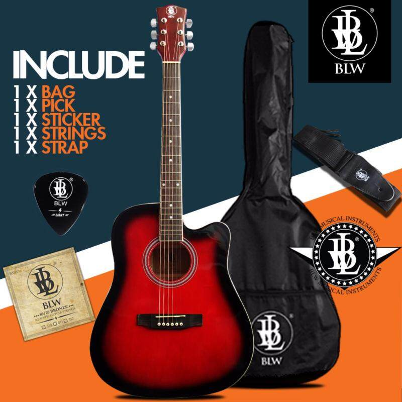 BLW 41 Inch Standard Dreadnaught Model Acoustic Guitar for Beginners SD410 Comes with Bag, String Set, Strap, Pick and Merchandise Sticker (Red) Malaysia