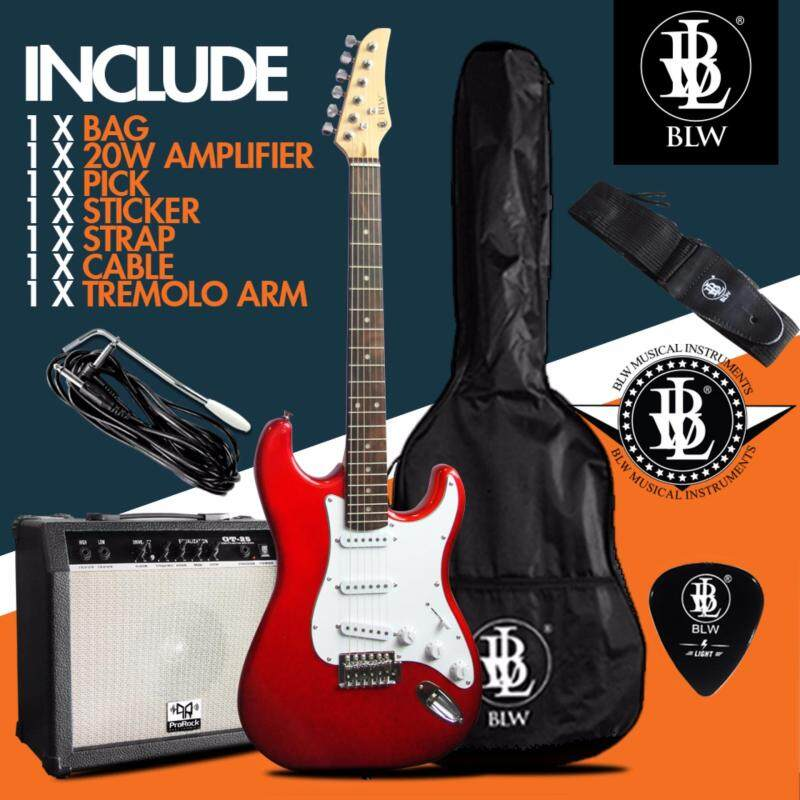 BLW Electric Guitar Package comes with ProRock 25Watt Amplifier, Bag, Cable, Strap and Pick (Red) Malaysia