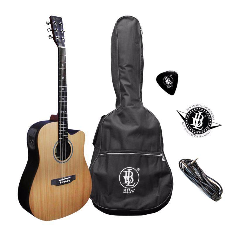 BLW Solid Cedar Spruce Top Acoustic Electric Active Pick up Pre amp Guitar (Brown) Malaysia