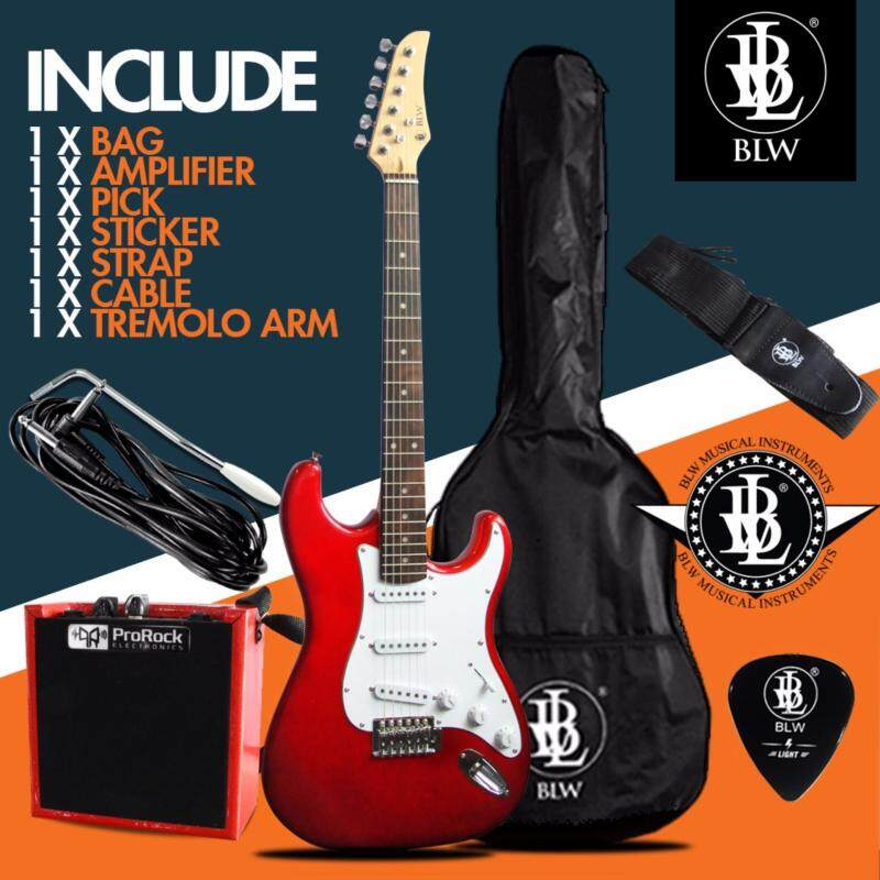 BLW Stratocaster Style Electric Guitar Starter Beginner Pack comes with ProRock Amplifier, Bag, Cable, Strap, Pick and Merchandise Sticker (Red) Malaysia