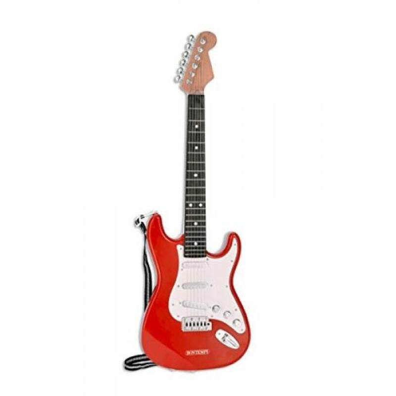 Bontempi 6 String Electric Guitar with pre-loaded songs & shoulder strap - Red Malaysia
