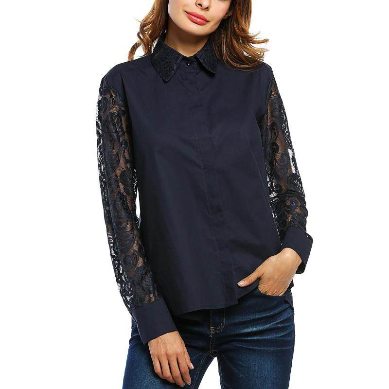 Cyber Women Fashion Turn Down Collar Long Sleeve Hollow Floral Lace Patchwork Button Down Blouse Shirt Tops ( Navy Blue ) Malaysia
