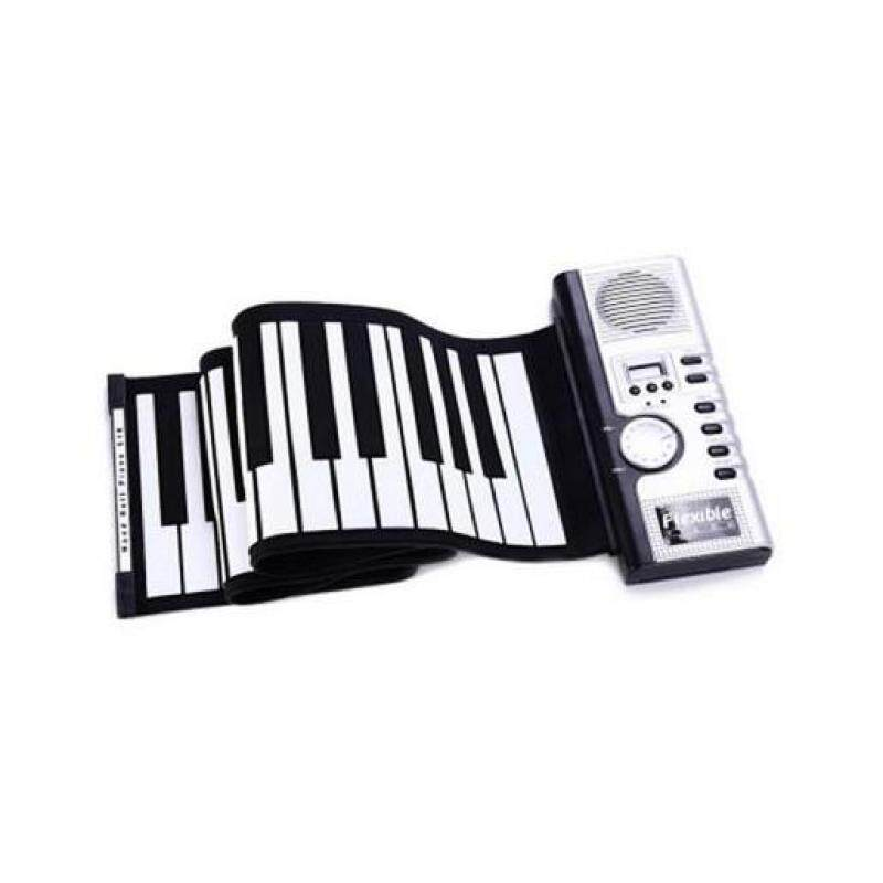 FLEXIBLE 61 KEYS SOFT PORTABLE ELECTRIC DIGITAL ROLL-UP KEYBOARD PIANO (WHITE AND BLACK) Malaysia