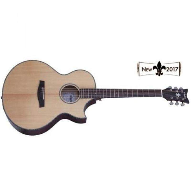 From USA Schecter 3711 Acoustic-Electric Guitar, Natural Satin Top-Vampyre Red Body Malaysia