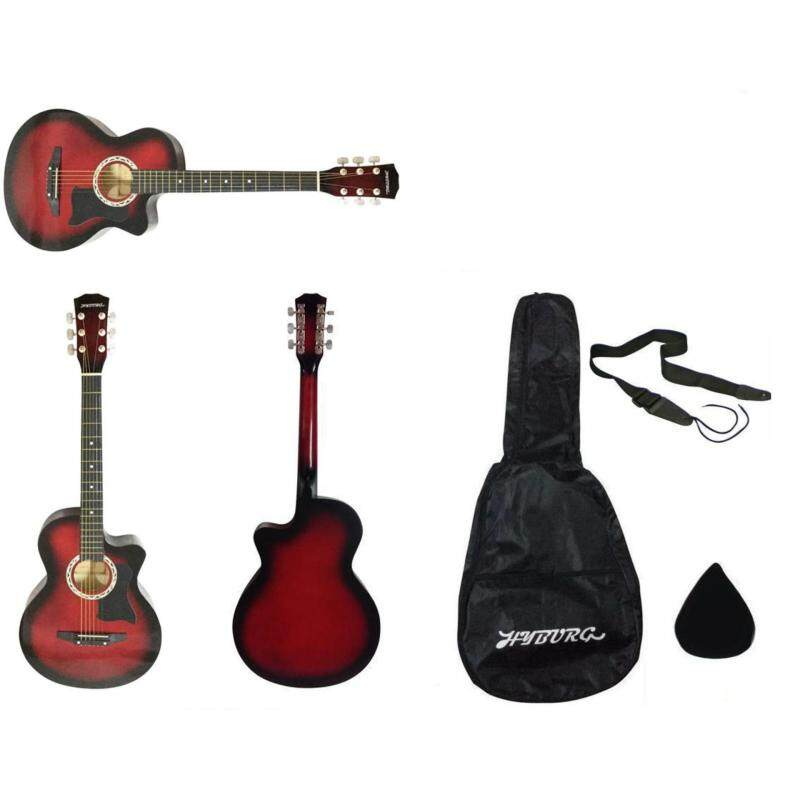 HYBURG Acoustic Cutaway Guitar 38 inch with Free Bag, Strap and Pick (Red) Malaysia