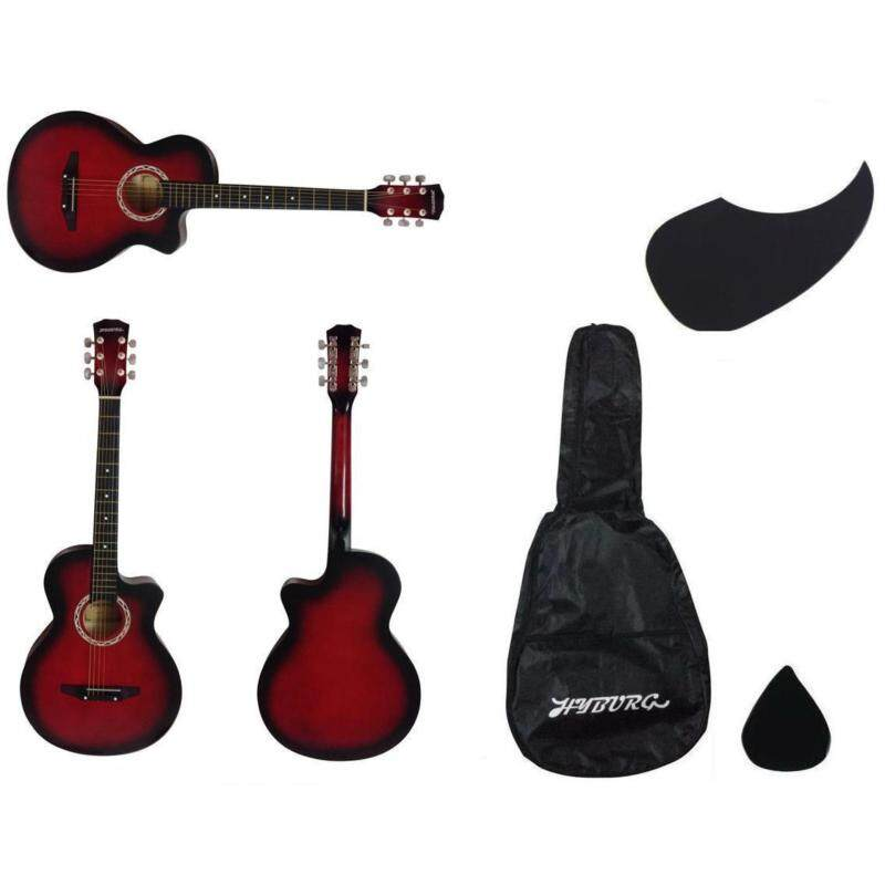Hyburg Acoustic Guitar 38 Inch (Red) + Bag + Pick + Pickguard Malaysia