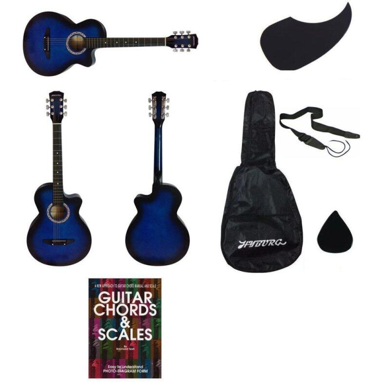 HYBURG Acoustic Guitar 38 Inch(Blue)+Bag+Pick+Pickguard+Strap+Book Malaysia