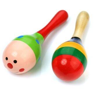 Harga 2 Wooden Wood Maraca Rattles Shaker Percussion Kid Baby Musical Toy Favor Gift