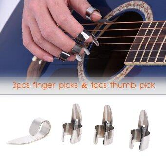 Harga Stainless Steel Guitar Banjo Ukulele Picks Plectrum 3pcs Finger Picks + 1pcs Thumb Pick Outdoorfree