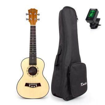 Kmise Concert Ukulele Uke 23 Inch Acoustic Hawaiian Guitar with 18 Fret Spurce Wood with Bag Tuner