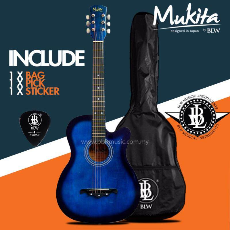 Mukita by BLW Standard Acoustic Folk Cutaway Basic Guitar Package 38 Inch for beginners with Bag, Pick and Merchandise Sticker (Blue) Malaysia