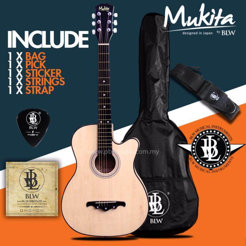 Mukita by BLW Standard Acoustic Folk Cutaway Basic Guitar Package 38 Inch for beginners with Bag, Pick, String Set, Strap and Merchandise Sticker (Natural) Malaysia