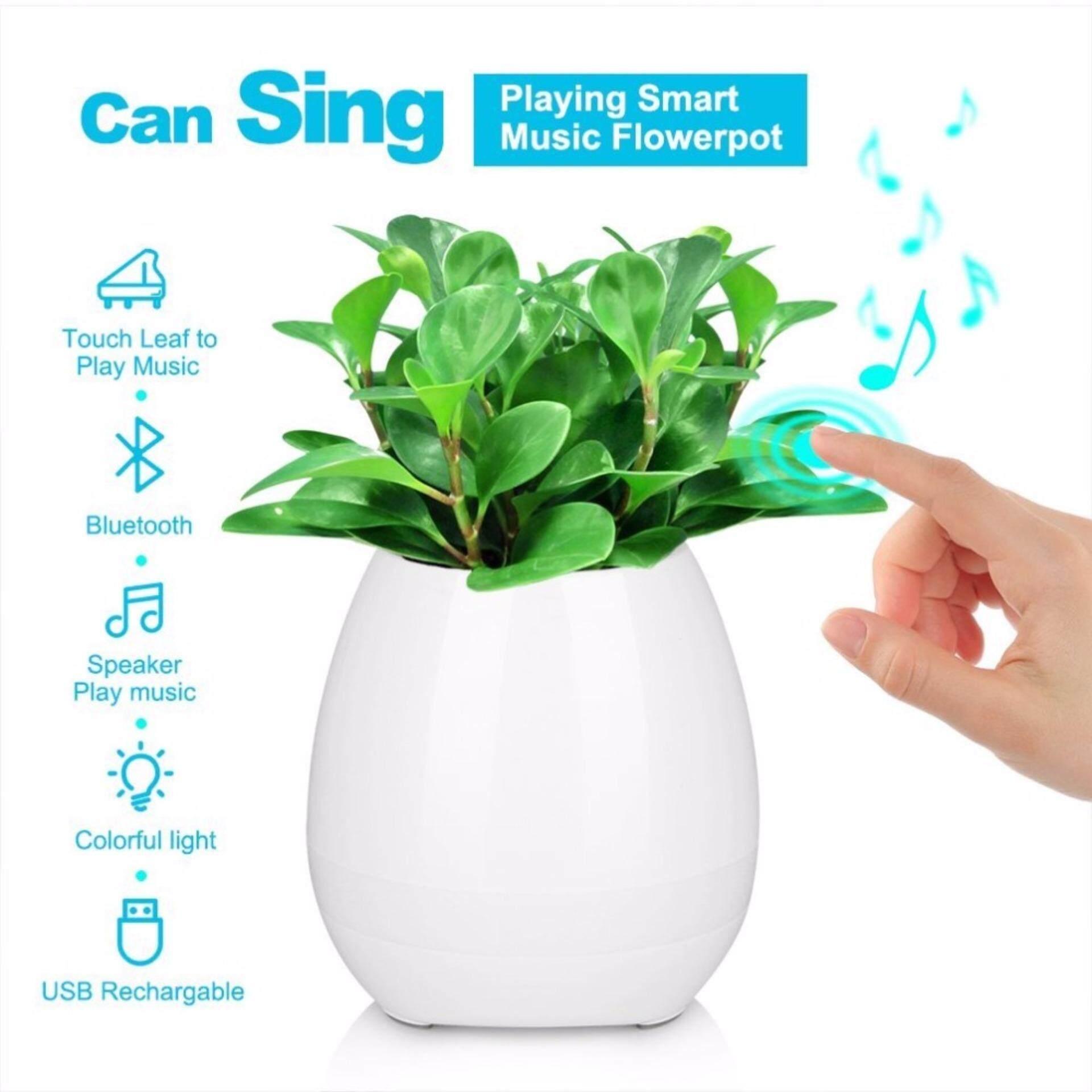 Portable Audio & Headphones Audio Docks & Mini Speakers Smart Music Touch Flower Pot Led Light Green Plant Usb Stereo Bluetooth Speaker