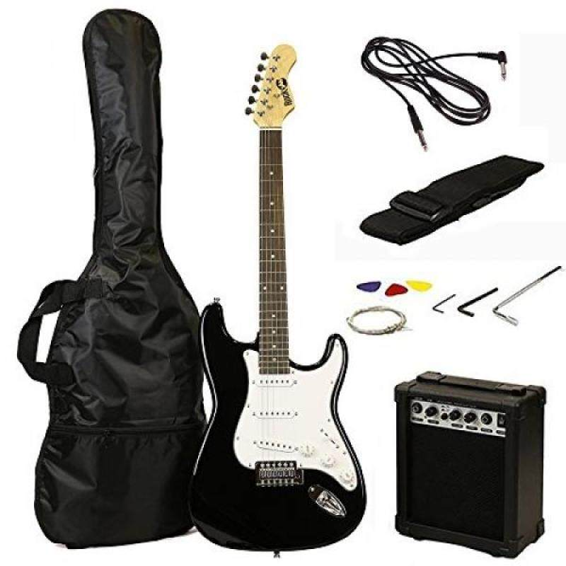 RockJam RJEG02-SK-BK ST Style Electric Guitar Super Pack with Amp, Gig Bag, Strings, Strap, Picks, Black Malaysia