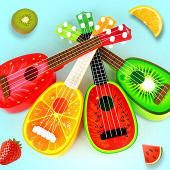 Rorychen Children Early Education Puzzle Toys Musical InstrumentsMini Simulation Yukeli Li Four Strings Fruit Little Guitar - 2