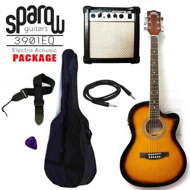 Sparow 39 inch Electro Acoustic Guitar Package colour SunBurst with 10w Guitar Amplifier (FOC Non Padded Bag,Cable, Pick & Strap) Malaysia
