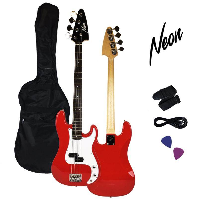 Taloha NEON Jumpstart Electric Bass Guitar Package (Red) with full set accessories Malaysia