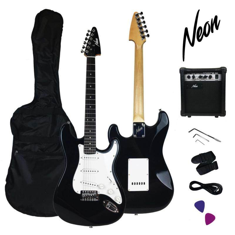 Taloha NEON Jumpstart Electric Guitar Package (Black) with guitar amplifier and full set accessories Malaysia