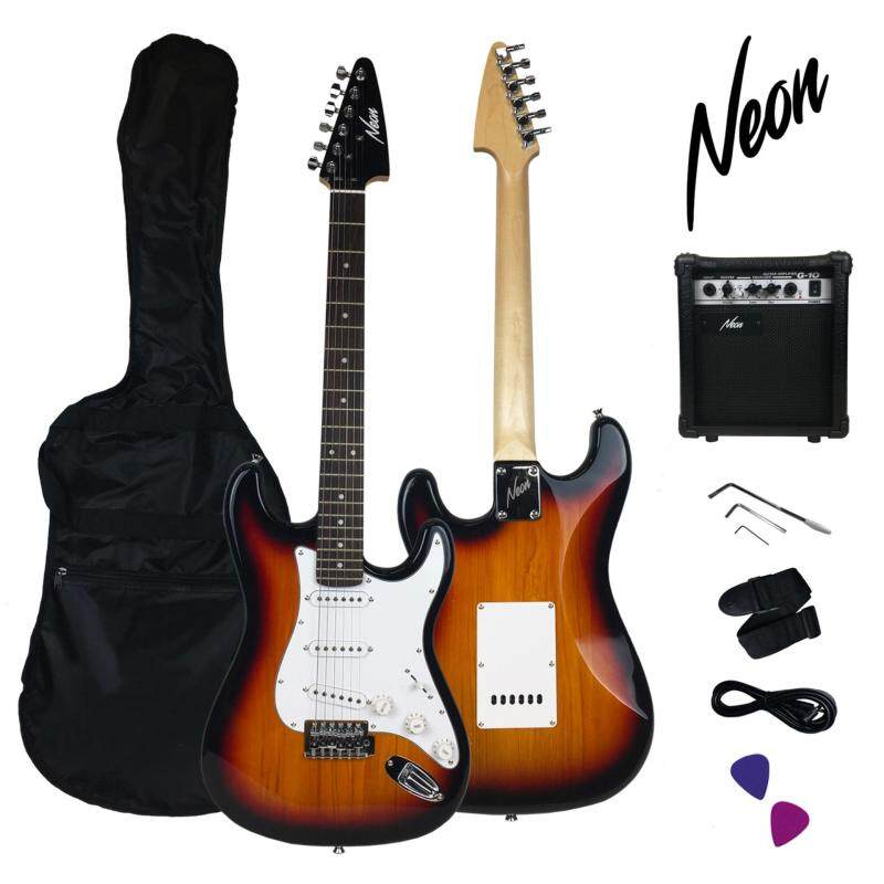 Taloha NEON Jumpstart Electric Guitar Package (Sunburst) with guitar amplifier and full set accessories Malaysia