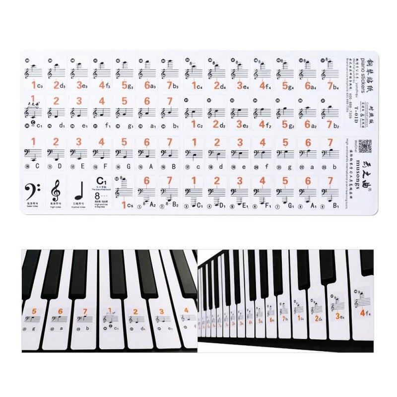 Transparent 37 49 61 Electronic Keyboard 88 Key Piano Stave Note Sticker Notation Version & Sheet Music for White Keys Malaysia