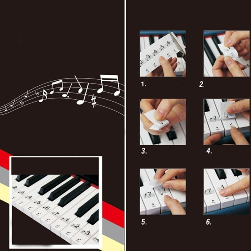 Transparent 61/88Key Piano Stickers Tags Tear Reuse Children Black Learn to Play Malaysia