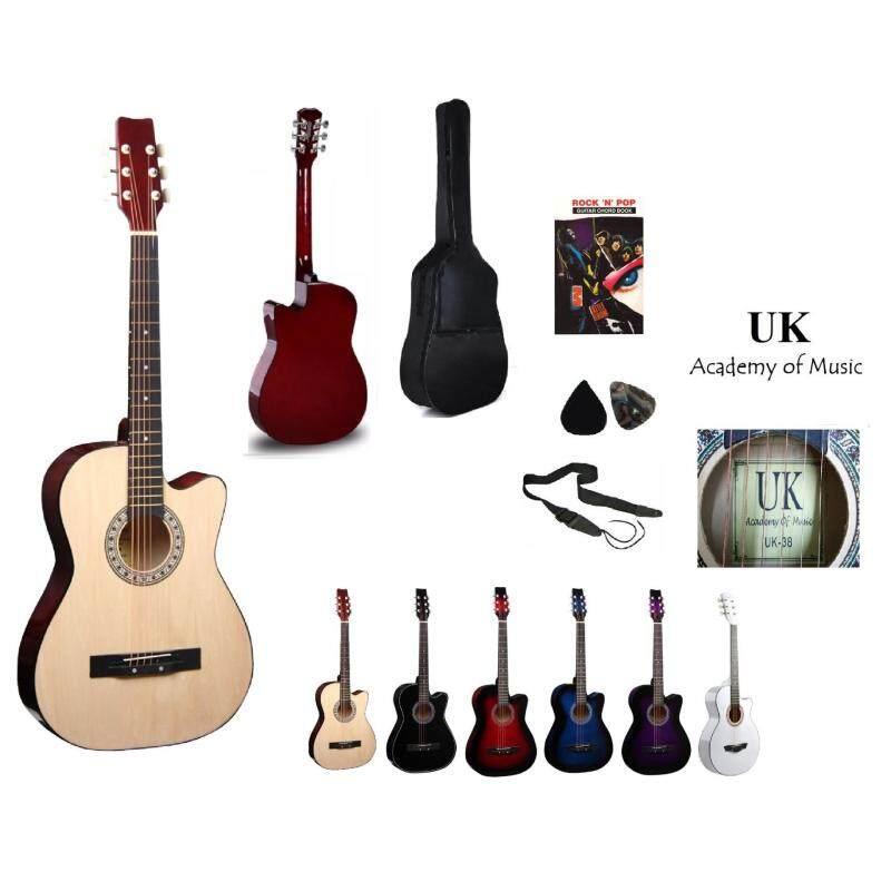 UK Acoustic Guitar 38 Inch (Natural)+Bag+2 Picks+Strap+Book Malaysia