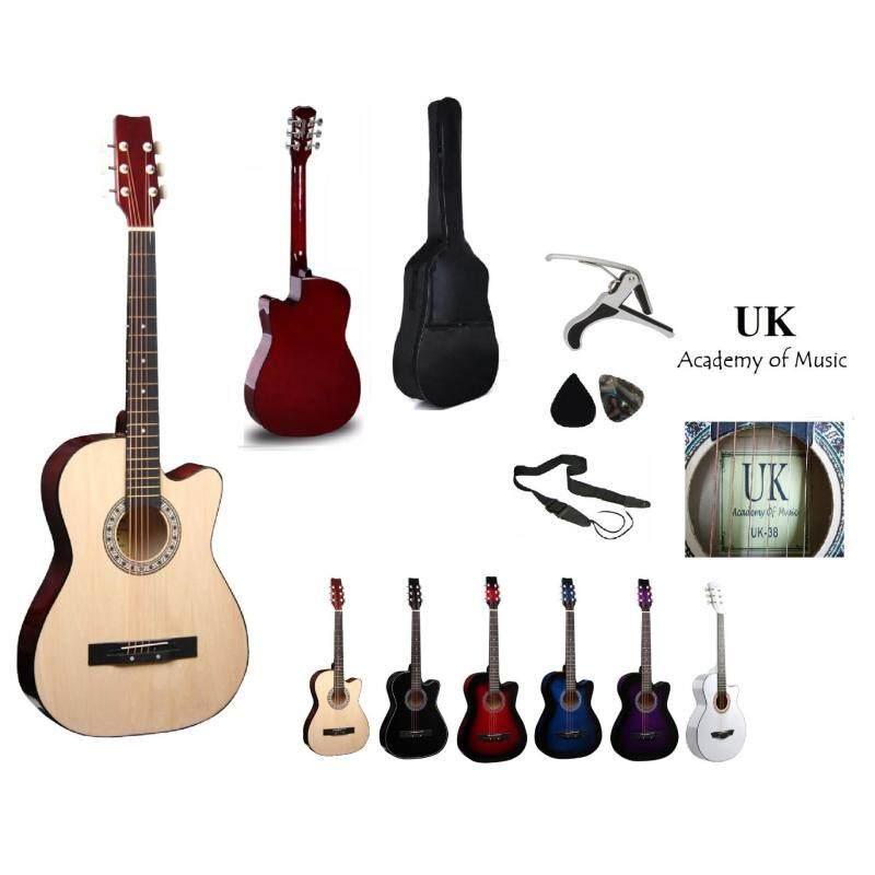 UK Acoustic Guitar 38 Inch (Natural)+Bag+2 Picks+Strap+Capo Malaysia