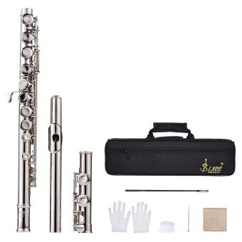 Western Concert Flute Silver Plated 16 Holes C Key Cupronickel Woodwind Instrument with Cleaning Cloth Stick