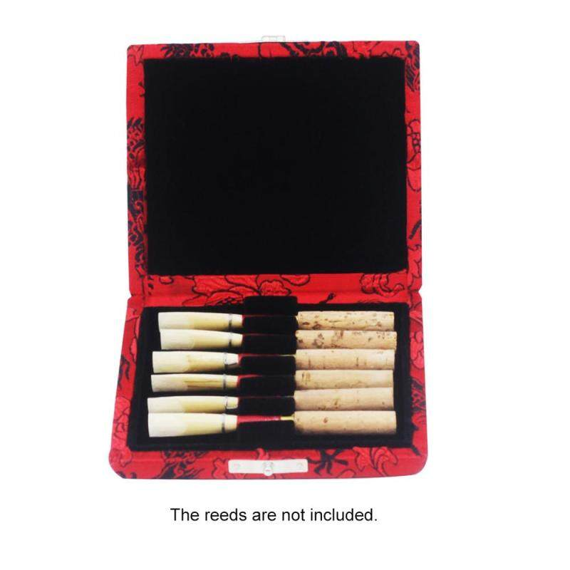 Wooden Oboe Reed Case Holder Box Covered by Beautiful Silk Cloth for 6pcs Oboe Reeds Malaysia
