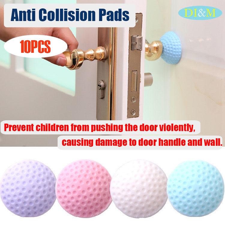 10PCS Wall Protector Self Adhesive Rubber Stop Door Handle Bumper Guard S COZ
