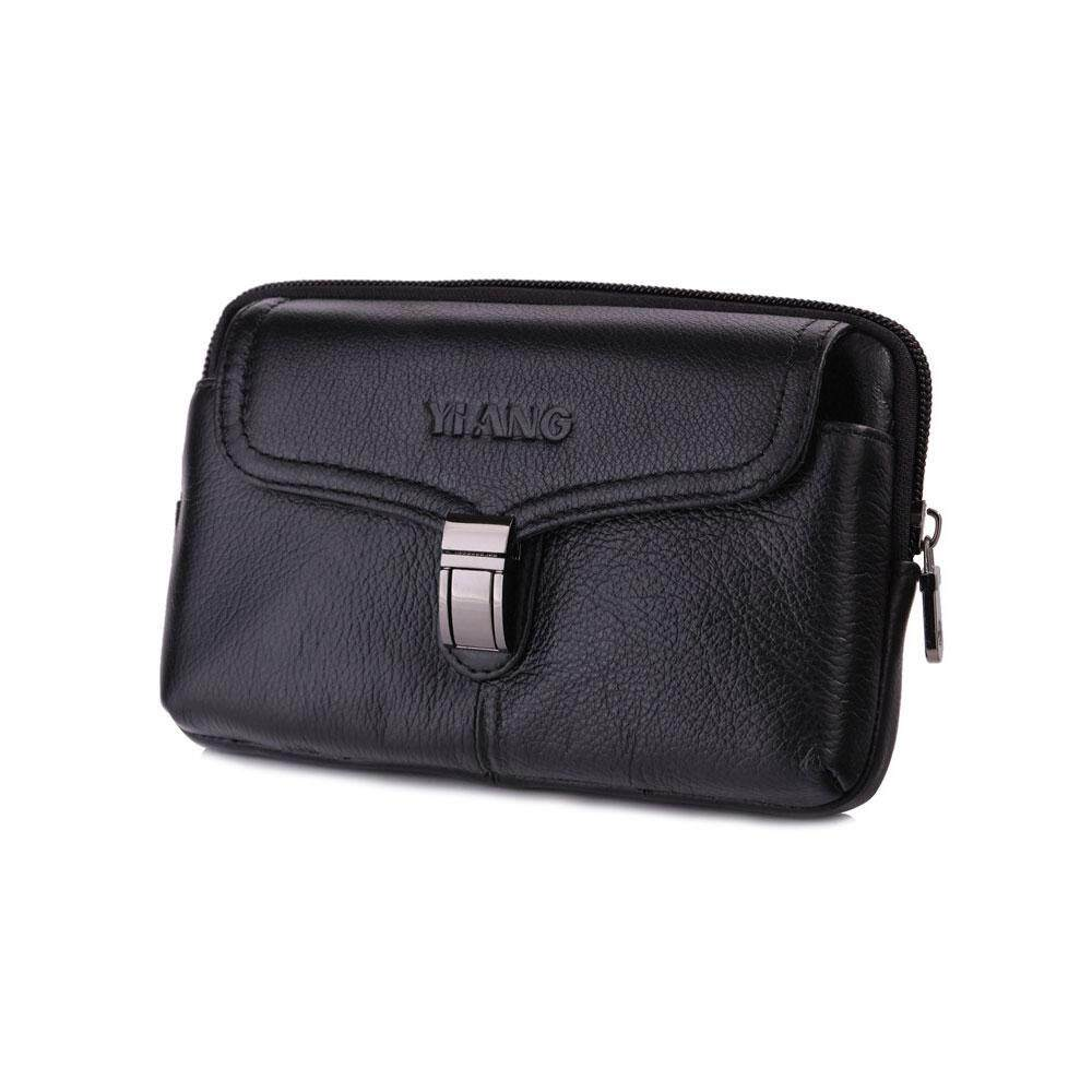 ed2e17c2a966 Vertical Genuine Leather Belt Bag -Cellphone Holster Waist Pouch / Phone  Bag Small Travel Crossbody Purse for Men and Boys